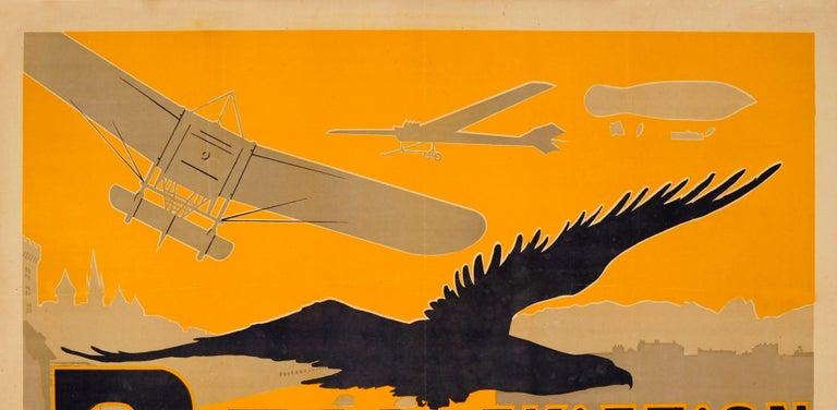 Original Antique Pau Aviation Poster Race Coupe Paris Pau Airfield Flying School - Print by Ernest Gabard