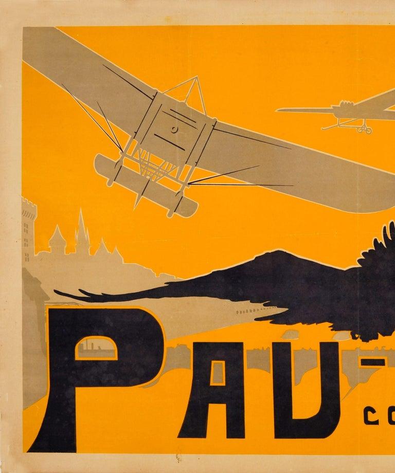 Original Antique Pau Aviation Poster Race Coupe Paris Pau Airfield Flying School - Art Nouveau Print by Ernest Gabard