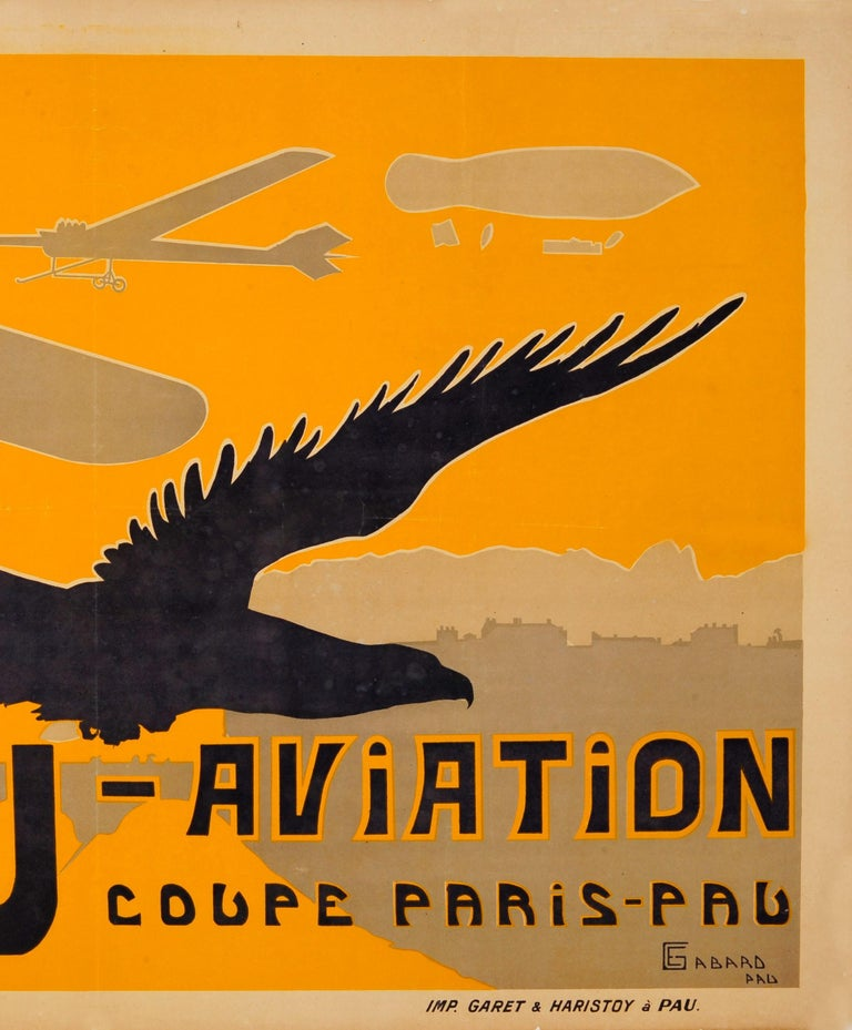 Original Antique Pau Aviation Poster Race Coupe Paris Pau Airfield Flying School - Orange Print by Ernest Gabard