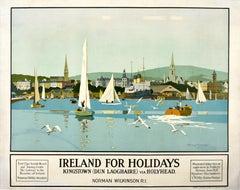 Original Vintage LMS Poster Ireland For Holidays Kingston Dun Laoghaire Sailing