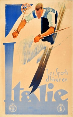 Original Vintage Winter Sports Skiiing Poster Les Sports D'hiver En Italie Italy