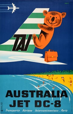 Original Vintage TAI Travel Poster Australia Jet DC-8 Ft Beach Koala Bear Design