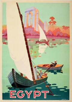 Original Vintage Egypt Travel Poster Ft. Sailing Boats River Nile Ancient Ruins