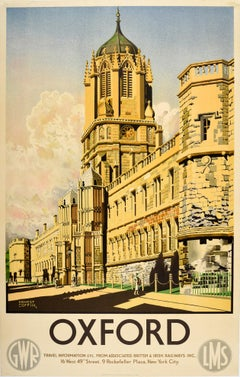 Original Vintage GWR LMS Railway Poster Oxford University Christ Church Tom Quad