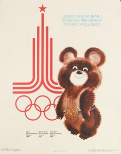 Original Vintage Moscow Summer Olympic Games Poster Misha Bear Mascot - Welcome!