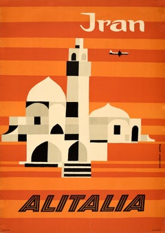 Original Vintage Mid Century Travel Poster For Iran By Alitalia Graphic Design