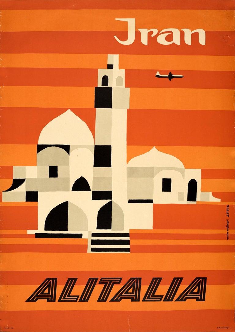 Ennio Molinari Print - Original Vintage Mid Century Travel Poster For Iran By Alitalia Graphic Design