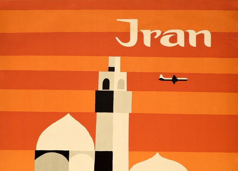 Original Vintage Mid Century Travel Poster For Iran By Alitalia Graphic Design - Print by Ennio Molinari