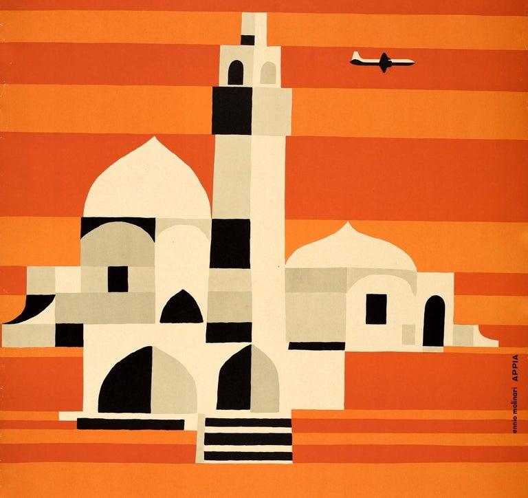 Original Vintage Mid Century Travel Poster For Iran By Alitalia Graphic Design - Orange Print by Ennio Molinari