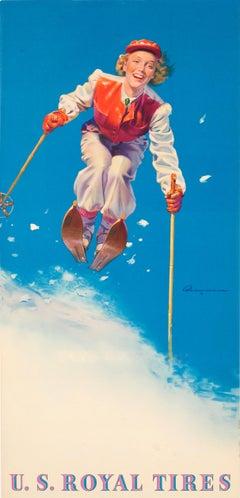 Original Vintage Skiing Design American Tyre Advertising Poster U.S. Royal Tires