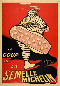Original Antique Advertising Poster Iconic Bibendum Michelin Man Design O'Galop
