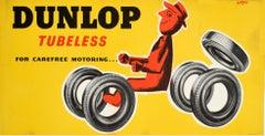Original Vintage Tyre Advertising Poster - Dunlop Tubeless For Carefree Motoring