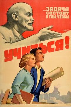 Original Vintage Soviet Education Propaganda Poster The Task Is To Study - Lenin