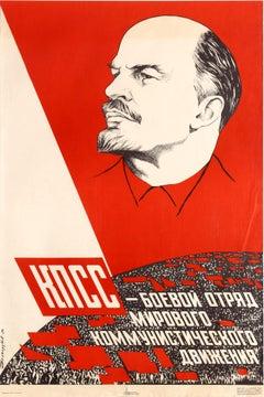 Original Vintage Communist Party Of The Soviet Union Propaganda Poster Ft. Lenin