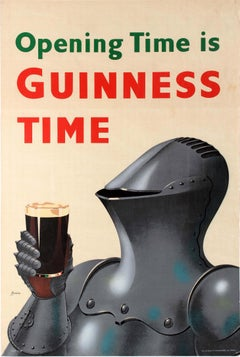 Original Vintage Opening Time Is Guinness Time Poster Knight Design Drink Advert