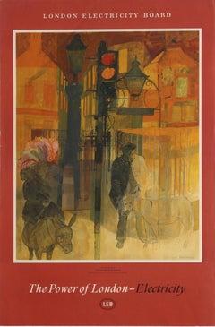 Original Vintage London Electricity Board Poster Power Of London Traffic Lights