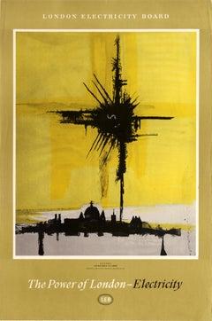 Original Vintage London Electricity Board Poster The Power Of London Skyline LEB