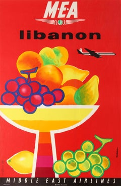 Original Vintage Travel Poster For Libanon Lebanon MEA Middle East Airlines BOAC