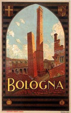 Original Vintage Travel Poster Bologna Italy Two Towers Asinelli Garisenda ENIT