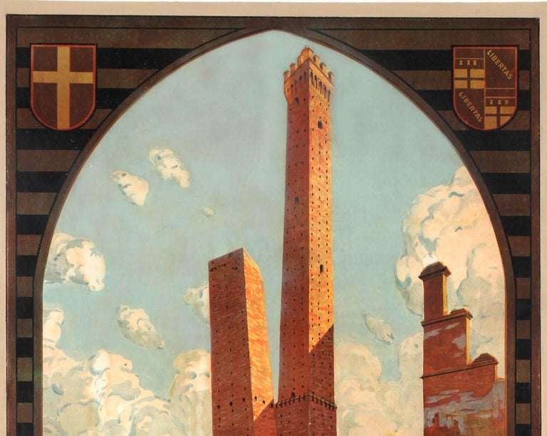 Original Vintage Travel Poster Bologna Italy Two Towers Asinelli Garisenda ENIT - Print by Severino Tremator