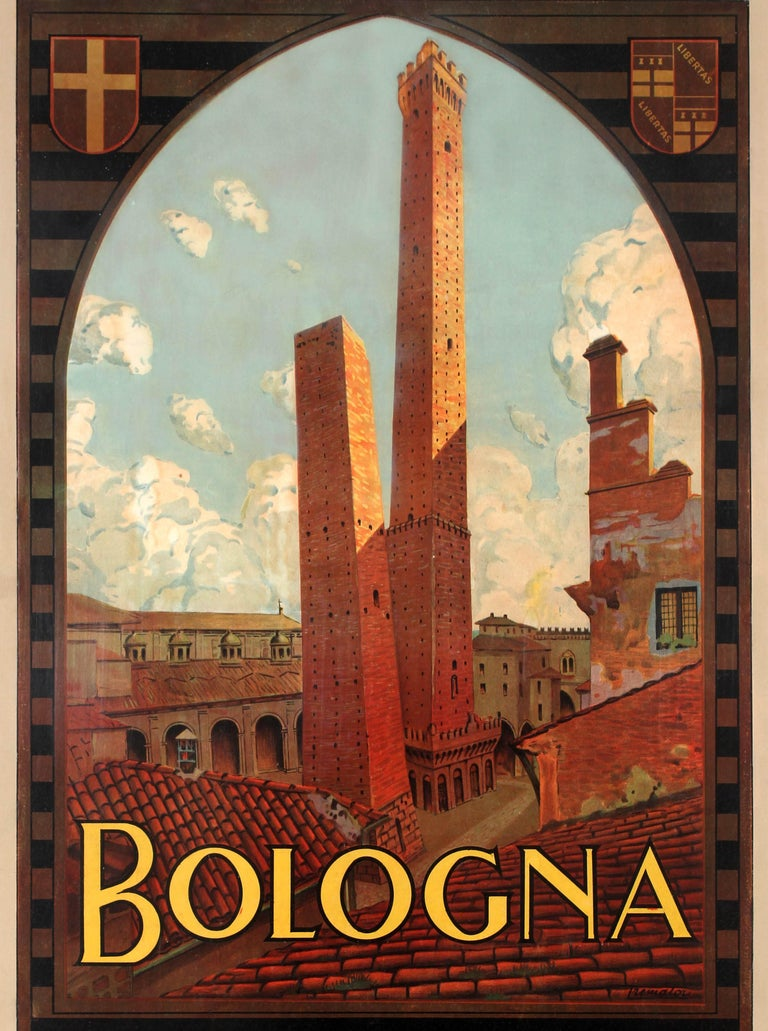 Original Vintage Travel Poster Bologna Italy Two Towers Asinelli Garisenda ENIT - Brown Print by Severino Tremator