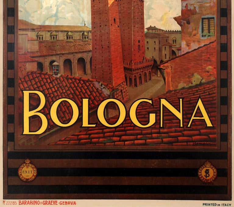 Original vintage travel advertising poster published by the Italian Tourism Board ENIT to promote the city of Bologna located in the Emilia-Romagna region of Italy. Great artwork by the Italian artist Severino Tremator (1895-1940) featuring the