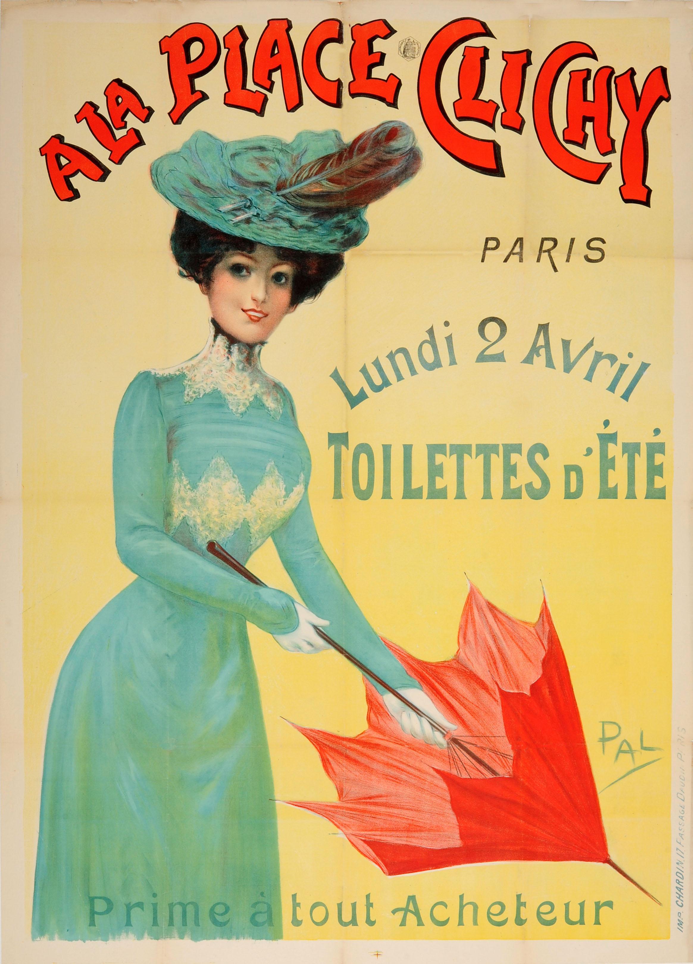 Original Antique Belle Epoque Poster A La Place Clichy Paris Fashion Summer Sale