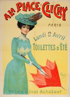 Original Antique Belle Epoque Poster A La Place Clichy Paris Fashion Summer Sale