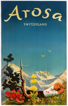 Original Vintage Arosa Switzerland Travel Poster By Hans Aeschbach Alpine Resort