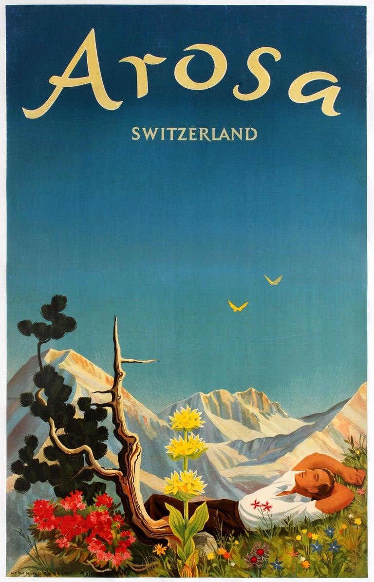 Original Vintage Arosa Switzerland Travel Poster By Hans Aeschbach Alpine Resort - Print by Hans Aeschbach