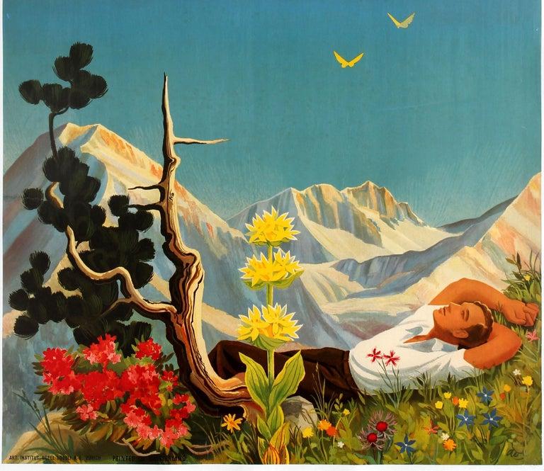 Original Vintage Arosa Switzerland Travel Poster By Hans Aeschbach Alpine Resort - Blue Print by Hans Aeschbach