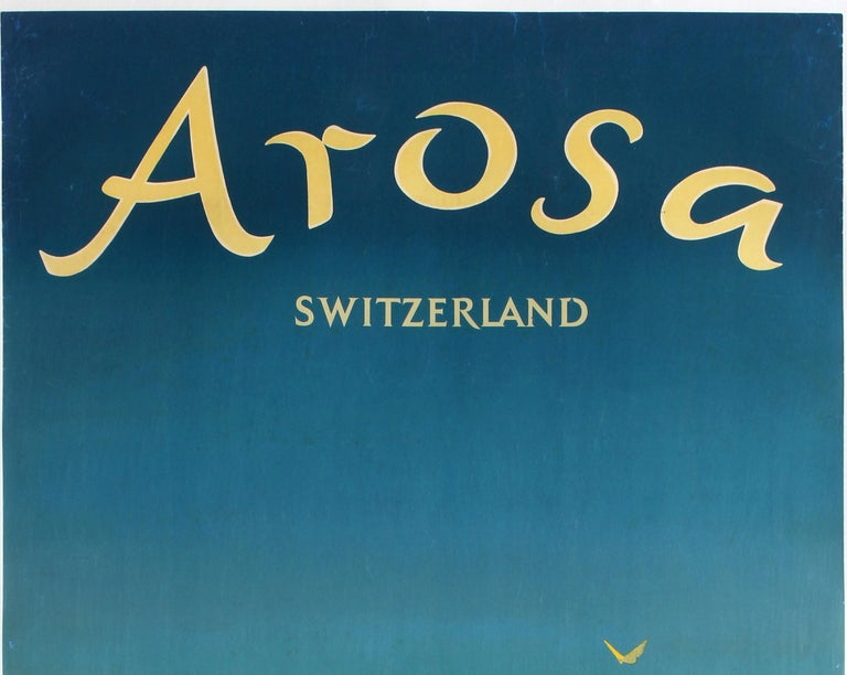 Original vintage travel poster for Arosa in the Swiss Alps featuring colourful artwork by Hans Aeschbach (1911-1999) depicting a hiker lying on the grass under a bright blue sky with a tree and flowers in the foreground, two yellow birds in the sky