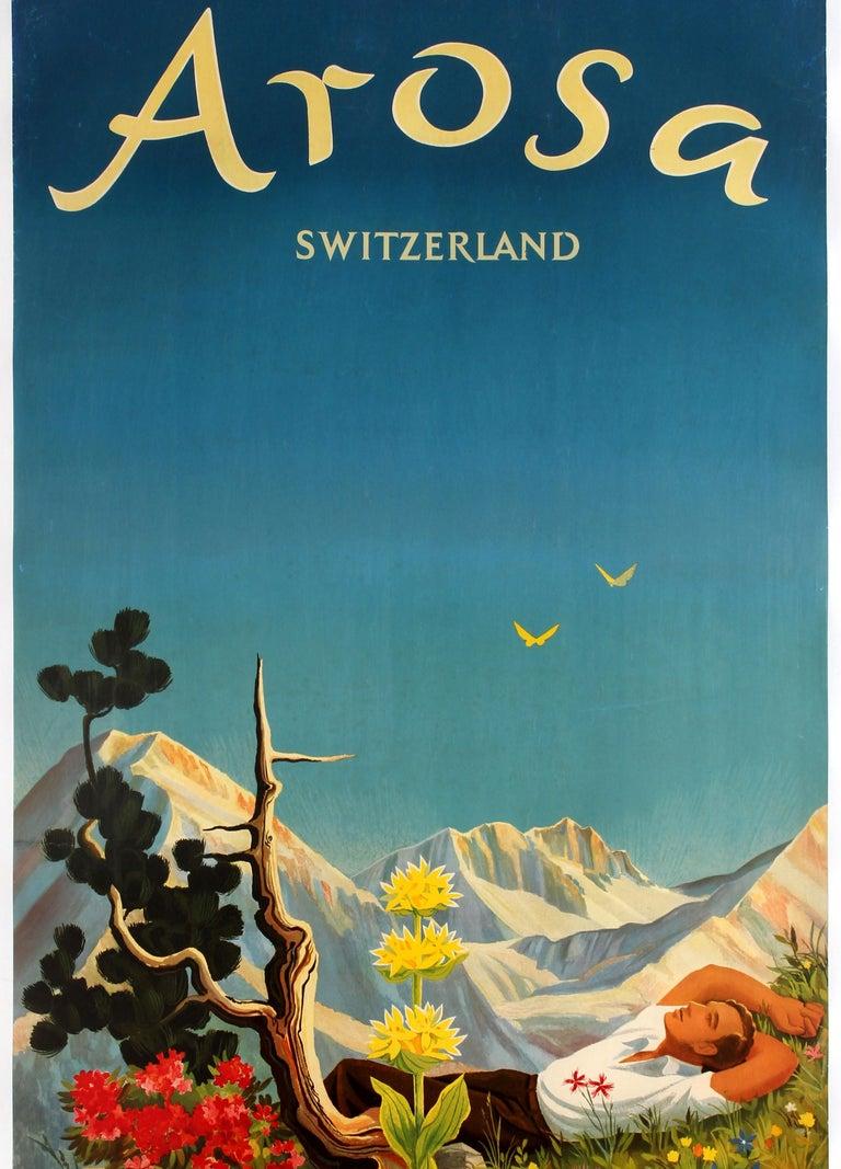Original Vintage Arosa Switzerland Travel Poster By Hans Aeschbach Alpine Resort For Sale 1