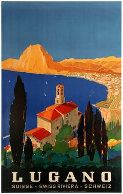 Original Vintage Swiss Riviera Travel Poster Lugano Lake Monte San Salvatore