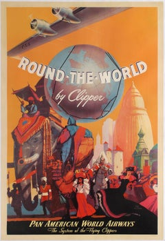 Original Vintage Travel Poster Round The World By Clipper Pan American Airways