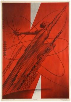 Original Vintage Propaganda Poster Lenin Great Soviet People Building Communism