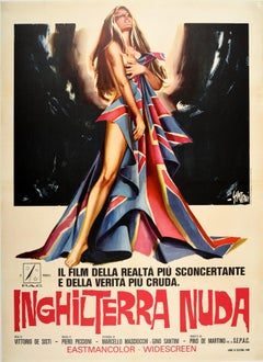 Original Vintage Movie Poster Inghilterra Nuda Naked England Italian Documentary