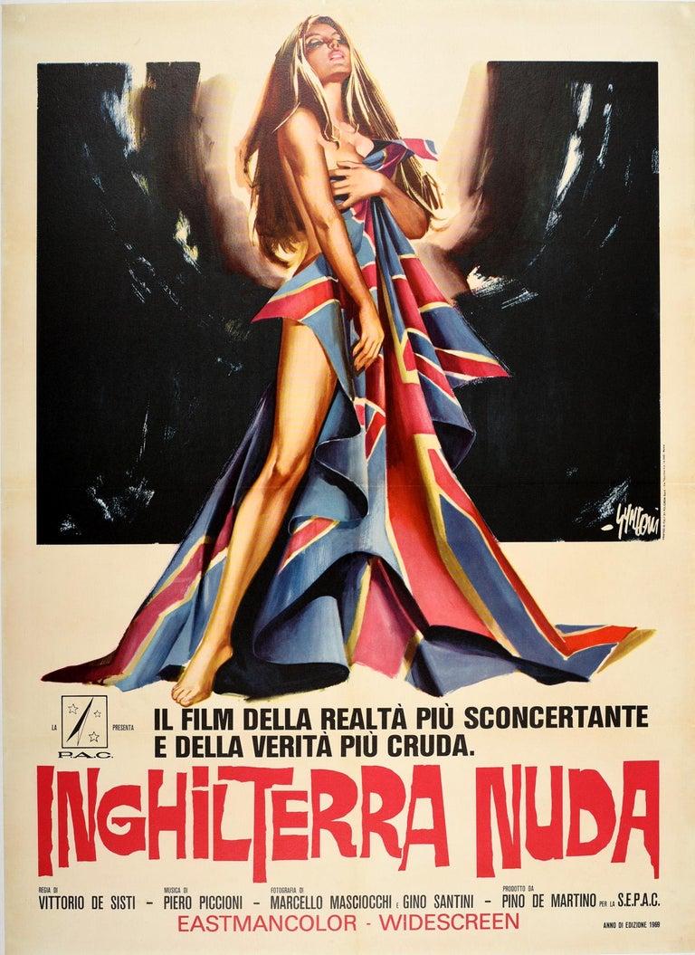 Sandro Symeoni Print - Original Vintage Movie Poster Inghilterra Nuda Naked England Italian Documentary