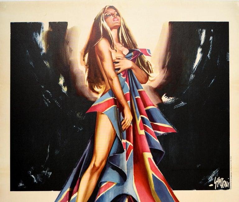 Original Vintage Movie Poster Inghilterra Nuda Naked England Italian Documentary - Print by Sandro Symeoni