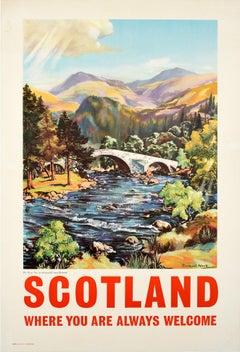 Original Vintage Scotland Travel Poster Old Bridge River Dee Scottish Highlands