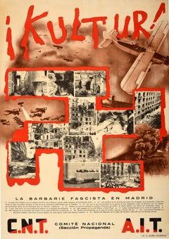 Original Vintage Spanish Civil War Poster Kultur! Fascist Barbarism Madrid Spain