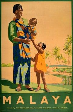 Original Vintage FMS Railway Travel Poster For Malaya - Malaysia Singapore Asia
