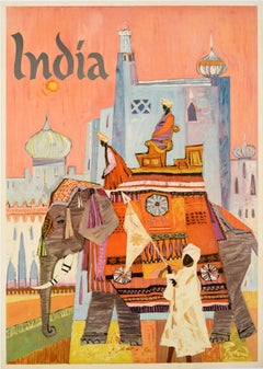 Original Vintage Travel Poster For India Feat. Colourful Regal Elephant Howdah