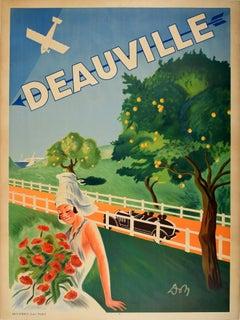 Original Vintage Poster Deauville Normandy France Riviera Resort Art Deco Design