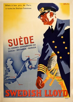 Original Vintage Poster Svenska Lloyd Travel London Paris Norway Sweden Denmark