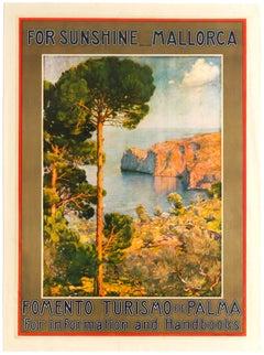 Original Vintage Poster - For Sunshine Mallorca - Travel Mediterranean Sea Spain