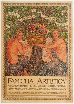 Antique Art Exhibition Poster Famiglia Artistica Artistic Family Milan 1873 1913