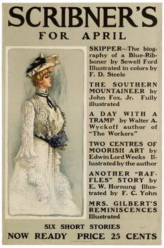 Original Antique Poster Scribner's For April 1901 Illustrated Magazine Stories