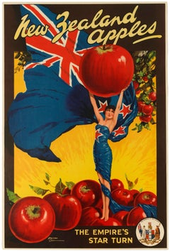 Original Vintage Poster For New Zealand Apples British Empire Trade Commonwealth