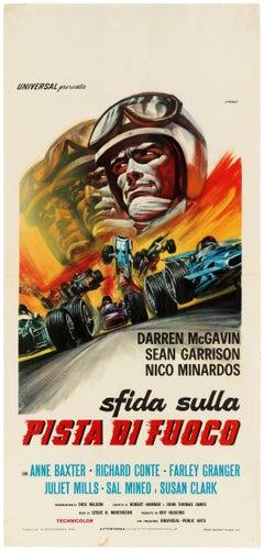 Original Vintage Poster The Challengers Movie F1 Cars Sfida Sulla Pista Di Fuoco